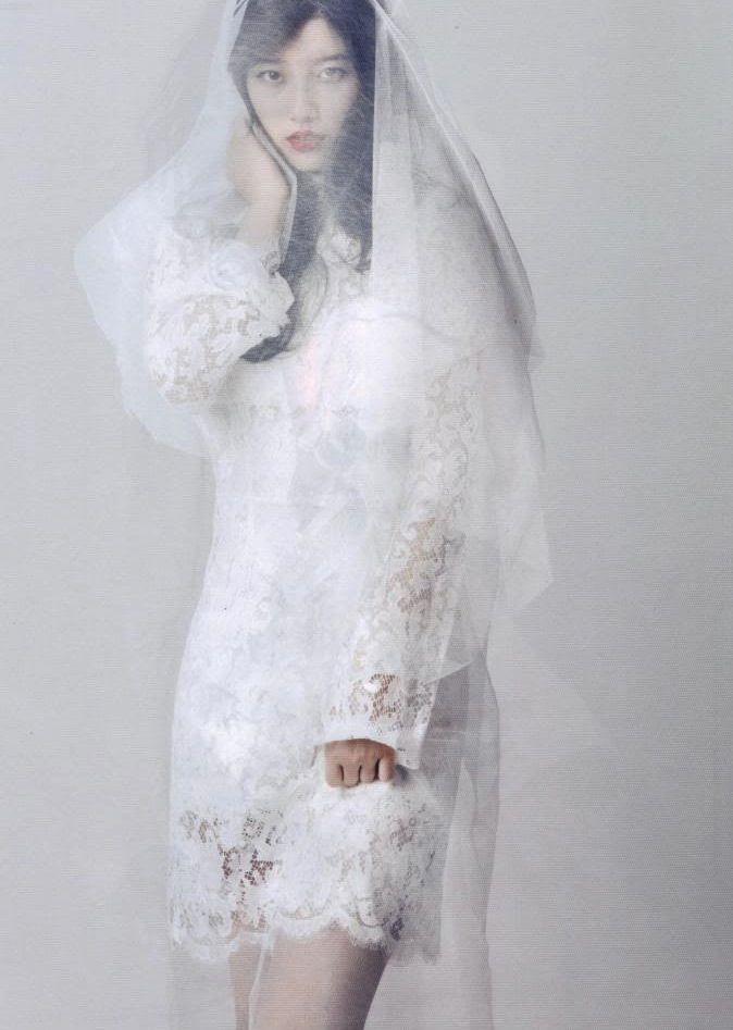 Tags: K-Pop, Miss A, Bae Suzy, Veil, White Outfit, White Dress, See Through Clothes, Wedding Dress, Scan, Magazine Scan, Allure