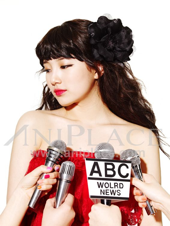 Tags: K-Pop, Miss A, Bae Suzy, White Background, Red Shirt, Bare Shoulders, Make Up, Red Lips, Light Background, Aniplace