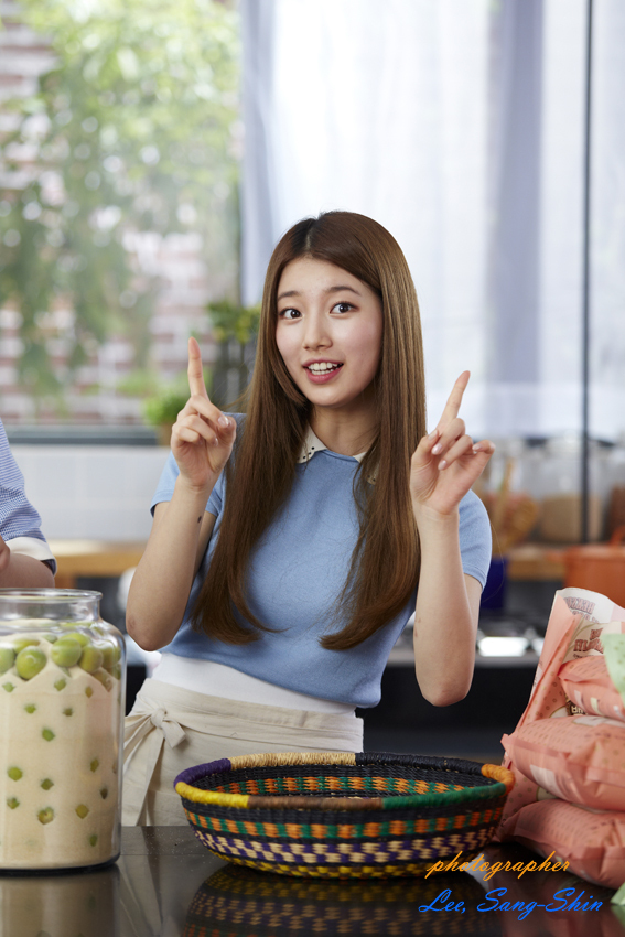 Tags: K-Pop, Miss A, Bae Suzy, Blue Shirt, Apron, Kitchen, Short Sleeves, Xylose