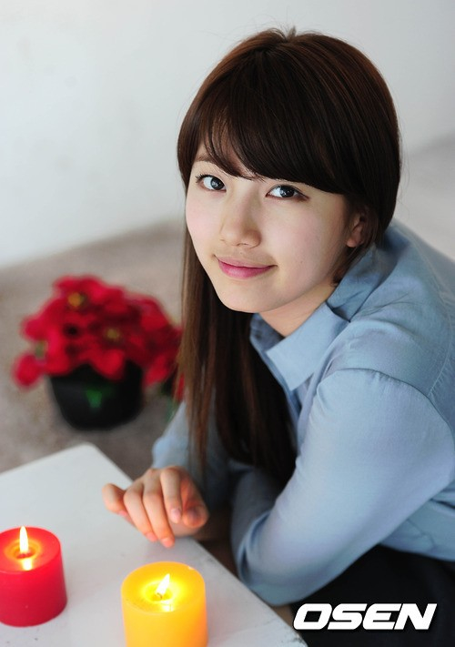 Tags: K-Pop, Miss A, Bae Suzy, Black Eyes, Fire, Blue Shirt, Candle, Blunt Bangs, Table