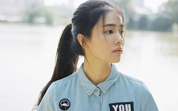 Tags: C-Drama, Bai Lu, Hair Up, Water, Ponytail, Short Sleeves, Looking Away, River, Black Eyes, Blue Shirt, Denim Shirt