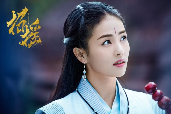 Tags: C-Drama, Bai Lu, Traditional Clothes, Chinese Clothes, Black Eyes, Apple, Blue Dress, Blue Outfit, Fruits, The Legends