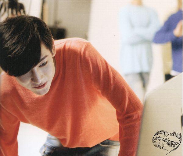 Tags: K-Pop, Got7, BamBam, Looking Ahead, Bend Over, Orange Shirt, Real GOT7 Season 3 Photobook, Scan