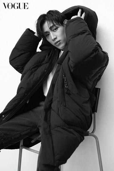 Tags: K-Pop, Got7, BamBam, Hood, Serious, Sitting On Chair, Coat, Chair, Vogue Thailand, Magazine Scan