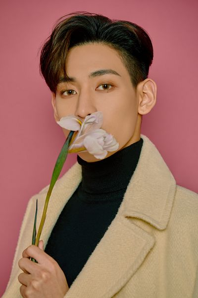 Tags: K-Pop, Got7, BamBam, Mole, Coat, Covering Mouth, Flower, Serious, Facial Mark, Collar (Clothes), Turtleneck, Pink Background