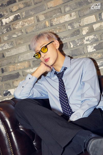 Tags: K-Pop, Got7, BamBam, Armchair, Tie, White Hair, Serious, Chair, Blue Shirt, Glasses, Crossed Legs, Sunglasses