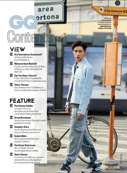 Tags: K-Pop, Got7, BamBam, Serious, English Text, Thai Text, Bicycle, Gray Pants, Blue Shirt, Bus Stop, Italian Text, GQ Thailand