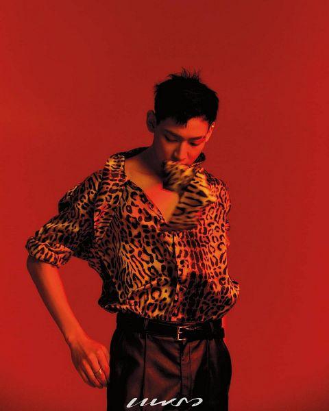 Tags: K-Pop, Got7, BamBam, Animal Print, Looking Down, Leopard Print, Red Background, Black Pants, Belt, Magazine Scan, Praew Magazine