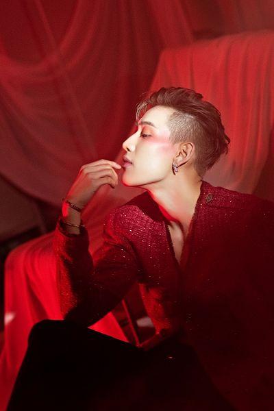 Tags: K-Pop, Got7, BamBam, Red Jacket, Black Pants, Side View, Bracelet, Red Outerwear, Make Up, Blanket, Breath Of Love: Last Piece