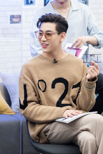 Tags: K-Pop, Got7, BamBam, Brown Shirt, Crossed Legs, Glasses, Sweater, Sunglasses, Brown Pants