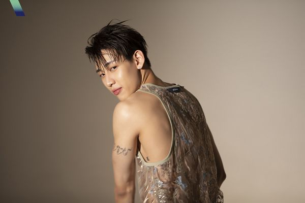 Tags: K-Pop, Got7, BamBam, Bare Shoulders, Tank Top, Sleeveless Shirt, Tattoo, Looking Back, Sleeveless, Brown Background, VOGUE Korea, Magazine Scan