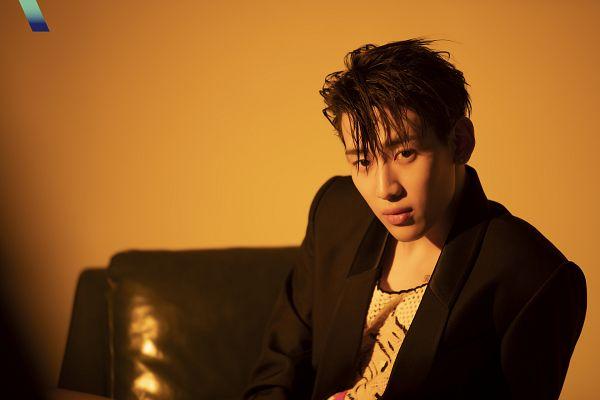 Tags: K-Pop, Got7, BamBam, Brown Background, Black Jacket, Serious, VOGUE Korea, Magazine Scan