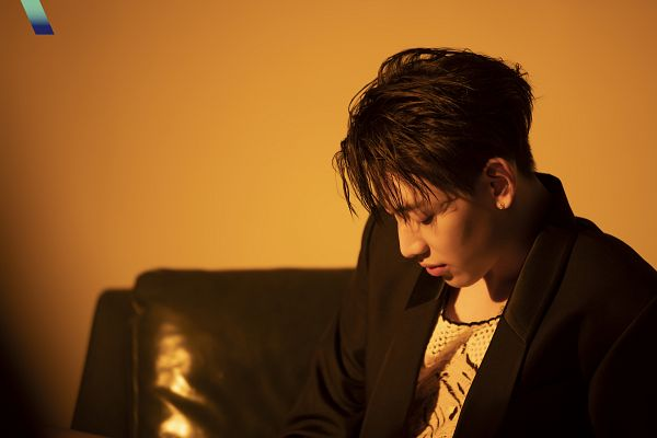 Tags: K-Pop, Got7, BamBam, Black Jacket, Serious, Brown Background, Magazine Scan, VOGUE Korea