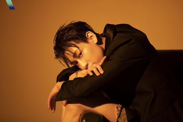 Tags: K-Pop, Got7, BamBam, Black Jacket, Chair, Brown Background, Magazine Scan, VOGUE Korea