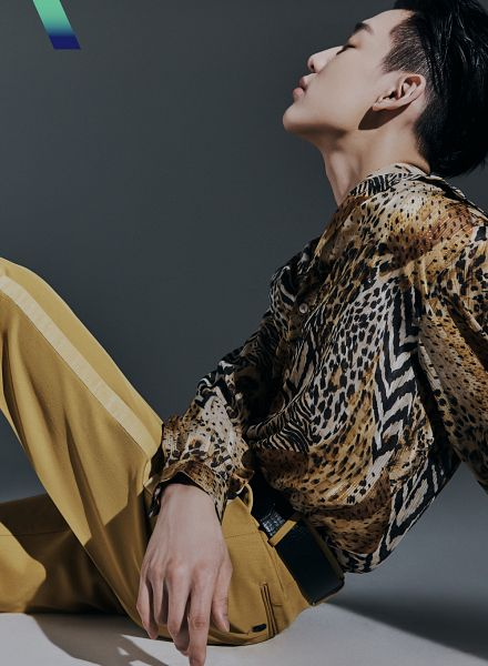 Tags: K-Pop, Got7, BamBam, Side View, Belt, Gray Background, Sitting On Ground, Yellow Pants