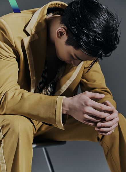 Tags: K-Pop, Got7, BamBam, Brown Pants, Sitting On Chair, Suit, Looking Down, Chair, Brown Outerwear, Gray Background