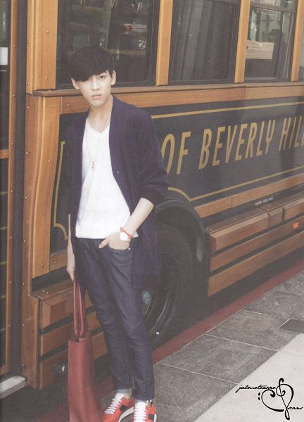 Tags: K-Pop, Got7, BamBam, Black Pants, Hand In Pocket, Bus, Bag, Serious, Scan, GOTCHA 2 Photobook