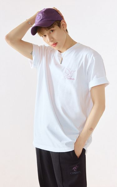 Tags: K-Pop, Got7, BamBam, Hat, Tattoo, Black Pants, Light Background, White Background, Serious, Short Sleeves, Hand In Pocket, Hand On Head