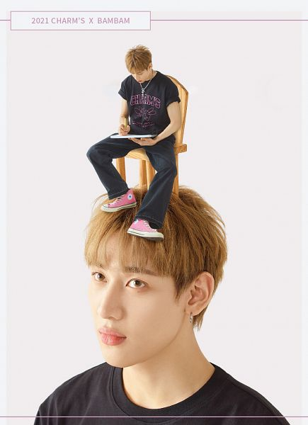 Tags: K-Pop, Got7, BamBam, Duo, Sitting On Chair, Short Sleeves, Necklace, Chair, Two Males, Light Background, Looking Down, White Background