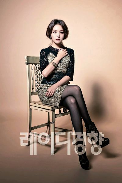 Tags: Girls' Day, Bang Minah, Crossed Legs, Bent Knees, Text: Series Name, Sitting, High Heels