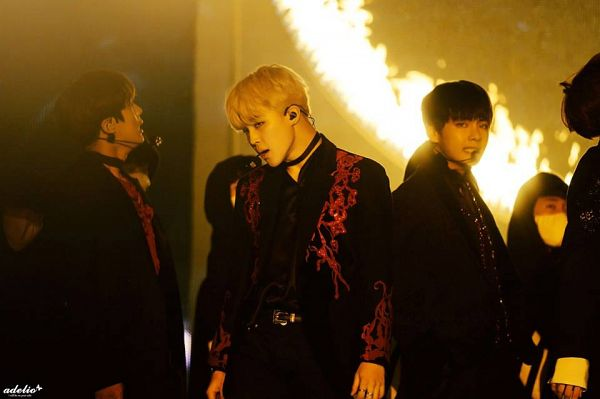 Tags: K-Pop, Bangtan Boys, V (Kim Taehyung), Park Jimin, Jungkook, Fire, Blonde Hair, Earbuds, Black Pants, Choker, Ring, Stage