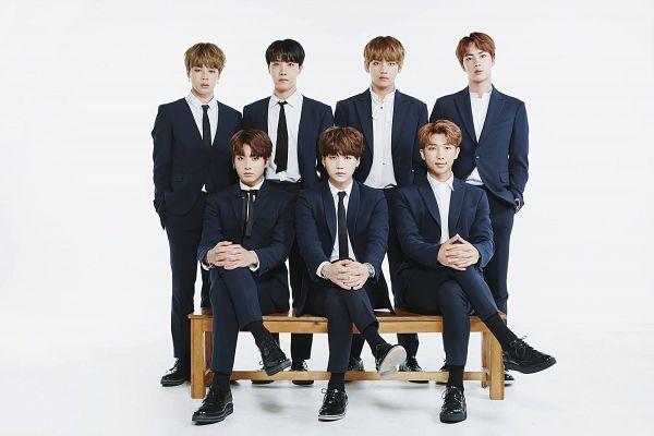 Tags: K-Pop, Bangtan Boys, Jungkook, Jin, V (Kim Taehyung), Rap Monster, Park Jimin, J-Hope, Suga, Suit, Full Body, Bench
