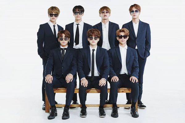 Tags: K-Pop, Bangtan Boys, Suga, Jungkook, Jin, V (Kim Taehyung), Rap Monster, Park Jimin, J-Hope, Glasses, Closed Mouth, Suit
