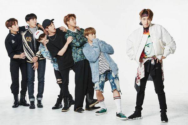 Tags: K-Pop, Bangtan Boys, Rap Monster, Park Jimin, J-Hope, Suga, Jungkook, Jin, V (Kim Taehyung), White Background, Striped, Lingerie