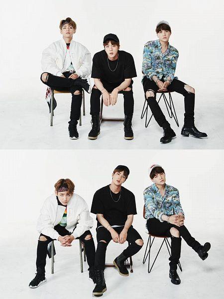 Tags: K-Pop, Bangtan Boys, V (Kim Taehyung), Suga, Jin, Chair, Sitting On Chair, Bent Knees, Necklace, White Background, Black Shirt, Ripped Pants