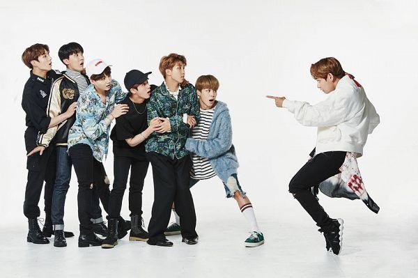 Tags: K-Pop, Bangtan Boys, J-Hope, Suga, Jungkook, Jin, V (Kim Taehyung), Rap Monster, Park Jimin, Lingerie, Blue Outerwear, White Background