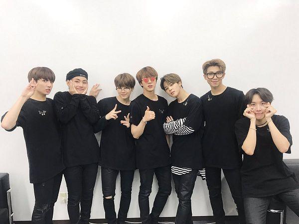 Tags: K-Pop, Bangtan Boys, Suga, Jungkook, Jin, V (Kim Taehyung), Rap Monster, Park Jimin, J-Hope, Black Shirt, Thumbs Up, Heart