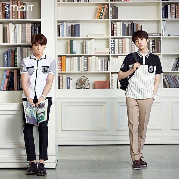 Tags: K-Pop, Bangtan Boys, Jungkook, Suga, Bag, Hand In Pocket, Book, Duo, Backpack, Two Males, Bookshelf, School Uniform