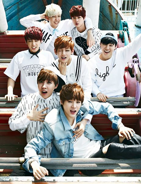 Tags: K-Pop, Bangtan Boys, Suga, Jungkook, Jin, V (Kim Taehyung), Rap Monster, Park Jimin, J-Hope, Red Hair, Grin, Arm Around Shoulder