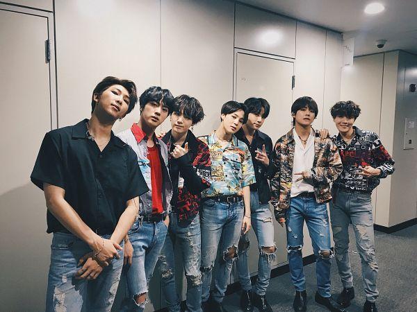 Tags: K-Pop, Bangtan Boys, Jungkook, Jin, V (Kim Taehyung), Rap Monster, Park Jimin, J-Hope, Suga, Short Sleeves, Jeans, Pants