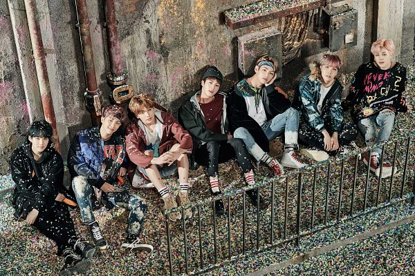 Tags: K-Pop, Bangtan Boys, J-Hope, Suga, Jungkook, Jin, V (Kim Taehyung), Rap Monster, Park Jimin, Black Headwear, Black Jacket, Red Footwear