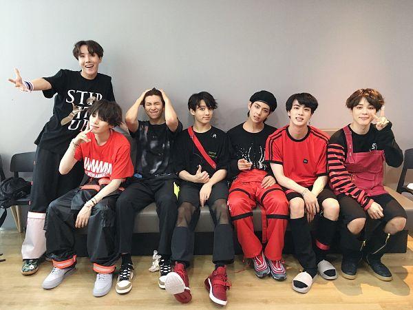 Tags: K-Pop, Bangtan Boys, V (Kim Taehyung), Rap Monster, Park Jimin, J-Hope, Suga, Jungkook, Jin, Wristband, Couch, Black Pants