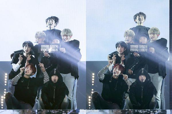 Tags: K-Pop, Bangtan Boys, Jin, V (Kim Taehyung), Rap Monster, Park Jimin, J-Hope, Suga, Jungkook, Black Outerwear, Hood, Grin