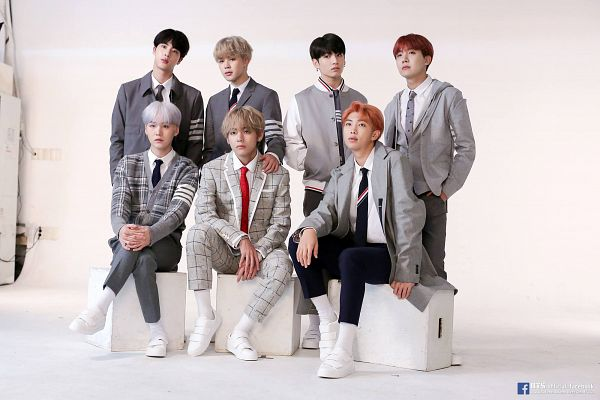 Tags: K-Pop, Bangtan Boys, Jungkook, Jin, V (Kim Taehyung), Rap Monster, Park Jimin, J-Hope, Suga, Full Group, Red Hair, Gray Outerwear