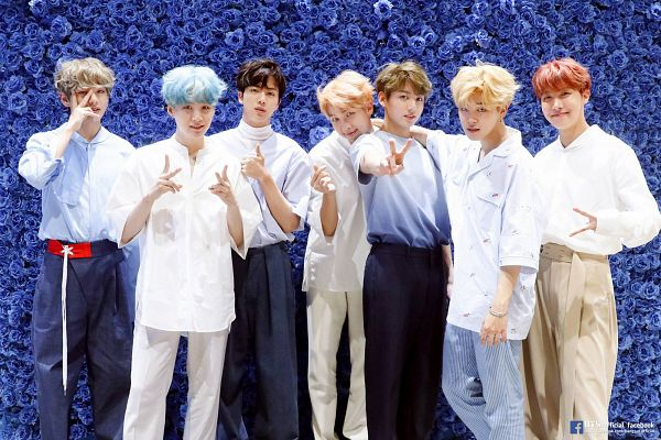 Tags: K-Pop, Bangtan Boys, V (Kim Taehyung), Rap Monster, Park Jimin, J-Hope, Suga, Jungkook, Jin, Earrings, Pants, Full Group