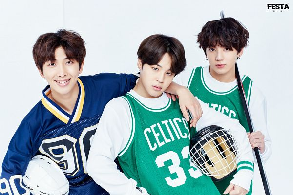 Tags: K-Pop, Bangtan Boys, Jungkook, Park Jimin, Rap Monster, Holding Object, Helmet, Uniform, Hand On Shoulder, Light Background, Three Males, Gray Background