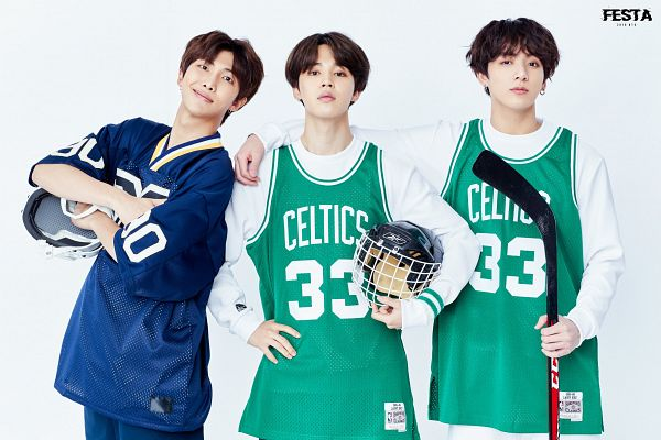 Tags: K-Pop, Bangtan Boys, Jungkook, Park Jimin, Rap Monster, Text: Artist Name, Light Background, Earrings, Arm Around Shoulder, Trio, Helmet, Hand On Hip