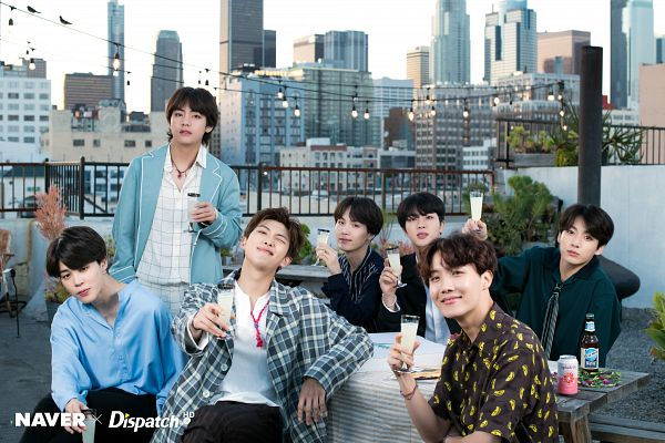 Tags: K-Pop, Bangtan Boys, Jungkook, Jin, V (Kim Taehyung), Rap Monster, Park Jimin, J-Hope, Suga, Grin, Open Coat, Flower Crown