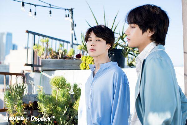 Tags: K-Pop, Bangtan Boys, V (Kim Taehyung), Park Jimin, Blue Outerwear, Side View, Open Coat, Coat, Day, Blue Shirt, Plant, Belt