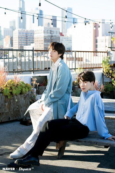 Tags: K-Pop, Bangtan Boys, V (Kim Taehyung), Park Jimin, Outdoors, White Footwear, Coat, Blue Outerwear, Blue Shirt, Plant, Open Coat, Belt