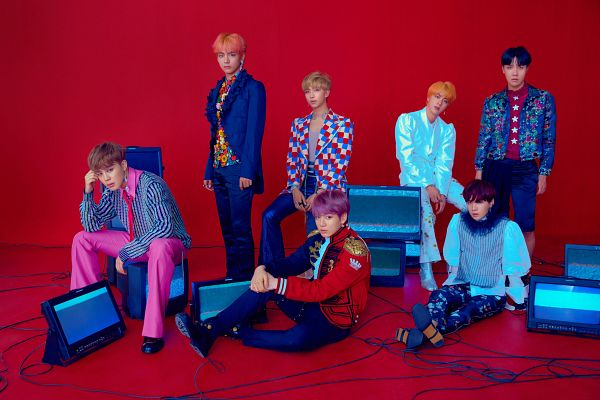Tags: K-Pop, Bangtan Boys, Park Jimin, J-Hope, Suga, Jungkook, Jin, V (Kim Taehyung), Rap Monster, Earrings, Blue Eyes, Pants