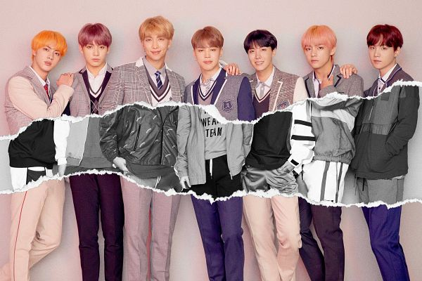 Tags: K-Pop, Bangtan Boys, Suga, Jungkook, Jin, V (Kim Taehyung), Rap Monster, Park Jimin, J-Hope, Grin, Hand On Shoulder, Closed Mouth