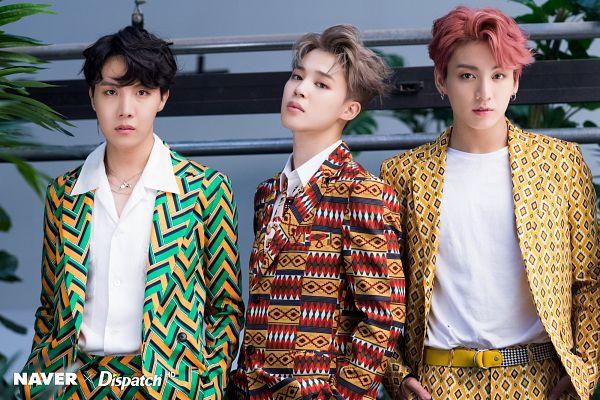 Tags: K-Pop, Bangtan Boys, Jungkook, Park Jimin, J-Hope, Tie, Collar (Clothes), Belt, Three Males, Indoors, Necklace, Leaf