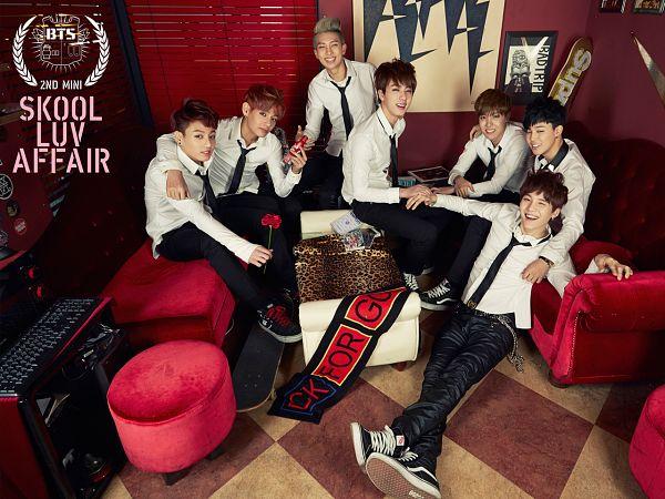 Tags: K-Pop, Bangtan Boys, J-Hope, Suga, Jungkook, Jin, V (Kim Taehyung), Rap Monster, Park Jimin, Text: Album Name, Grin, Crossed Legs
