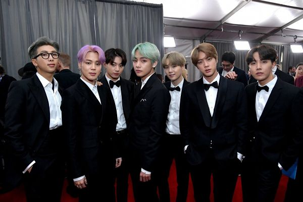 Tags: K-Pop, Bangtan Boys, V (Kim Taehyung), Rap Monster, Park Jimin, J-Hope, Suga, Jungkook, Jin, Bow Tie, Red Carpet, Black Jacket