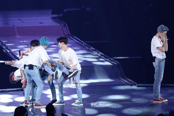 Tags: K-Pop, Bangtan Boys, V (Kim Taehyung), J-Hope, Suga, Jin, Jungkook, Rap Monster, Necklace, Blue Pants, Full Body, Jeans